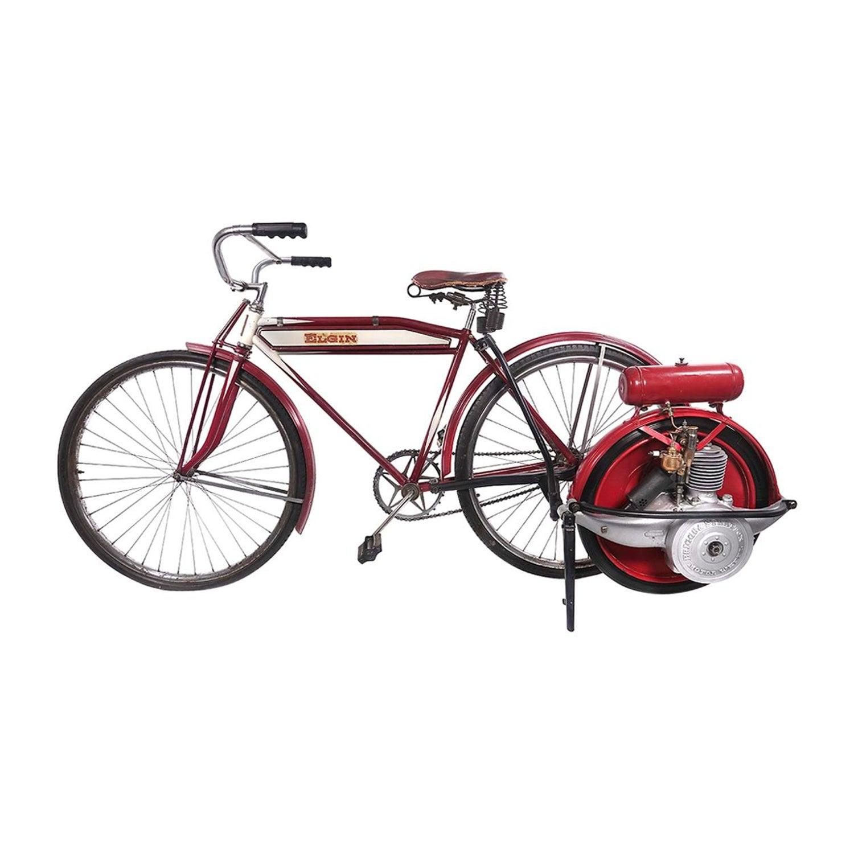 1920 Briggs and Stratton Motor Wheel on Elgin Cardinal Motobike