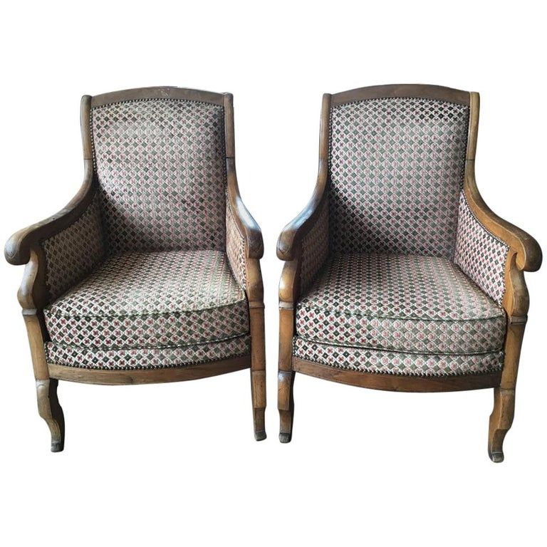 19th Century Italian Pair of Biedermeier Armchairs with Original Fabric, 1860s For Sale