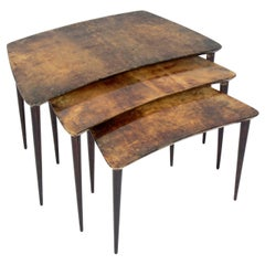 Aldo Tura Goatskin Nesting Tables