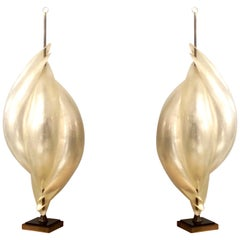 Rougier Monumental Pair of Modern Abstract Table Lamps, 1980s