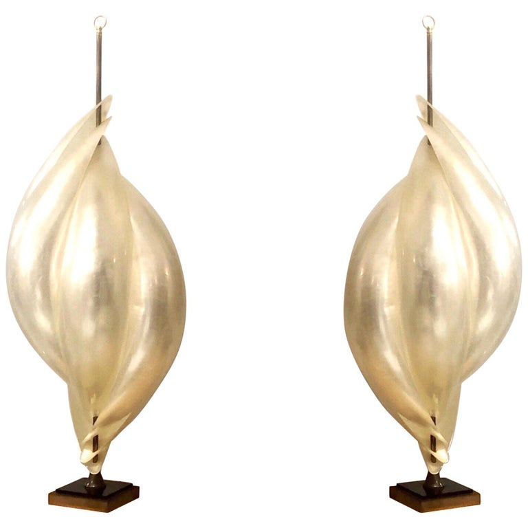 Rougier Monumental Pair of Modern Abstract Table Lamps, 1980s For Sale