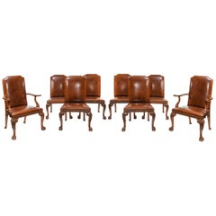 Fine Set of Eight Walnut and Leather Cabriole Leg Dining Chairs Queen Anne Style