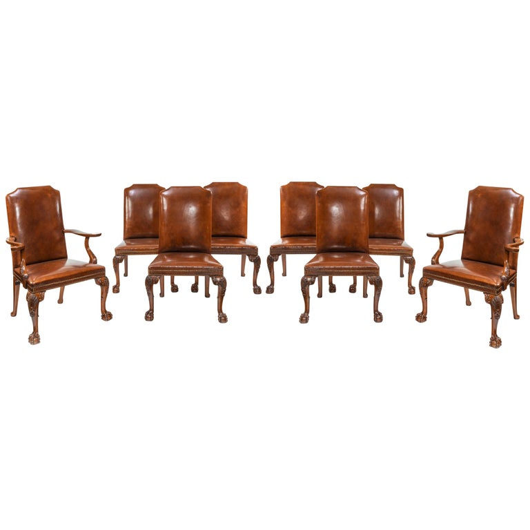 Fabulous Fine Set Of Eight Walnut And Leather Cabriole Leg Dining Chairs Queen Anne Style Gamerscity Chair Design For Home Gamerscityorg