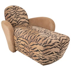 Vladimir Kagan Sofa/Chaise in Suede and Tiger Fabric