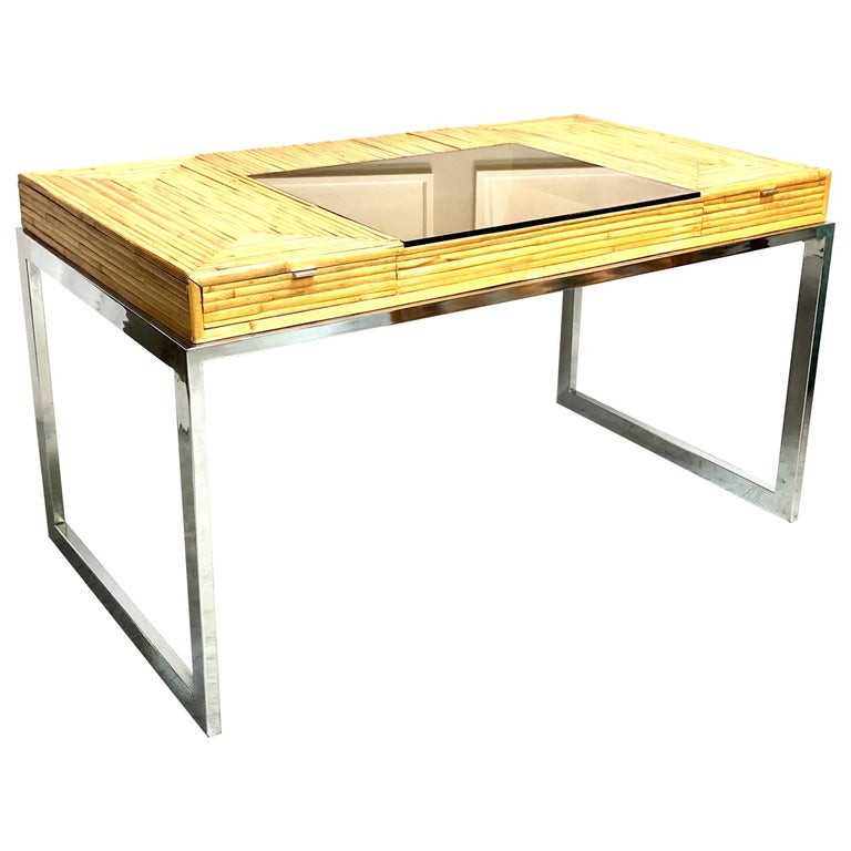 Milo Baughman Modern Bamboo and Chrome Desk, 1970s For Sale