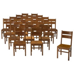 Large Set of 125 Belgian Oak Dining Chairs