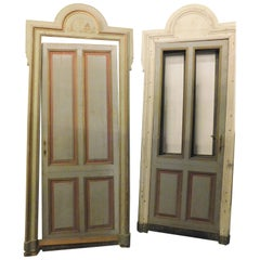 Antique 'N.4' Vintage Doors Lacquered and Painted in Various Colors, 1900, Italy