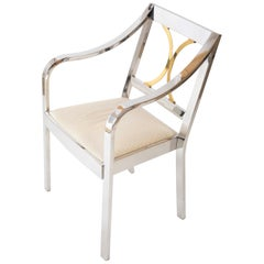 Karl Springer Ltd. Polished Steel and Brass Open Armchair