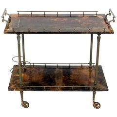 Aldo Tura Goatskin or Parchment Bar Cart