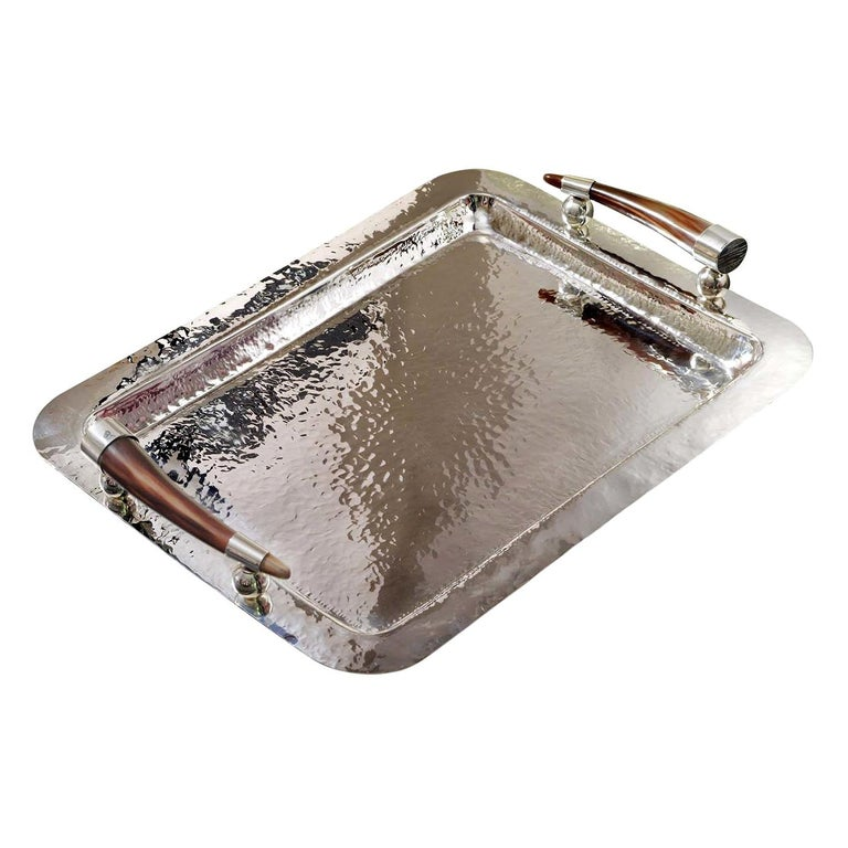 Rectangular Tray with Horn Handles For Sale