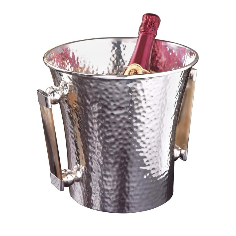Champagne Bucket with Horn Handles For Sale