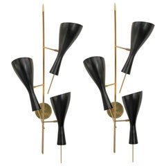 Italian Mid-Century Style Sconces with Black Metal Shades