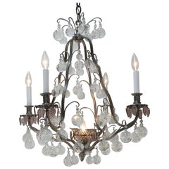 French 1930s Crystal and Silver Chandelier