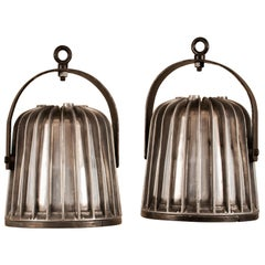 Pair of Mighty Industrial Aluminum Pendant Lights