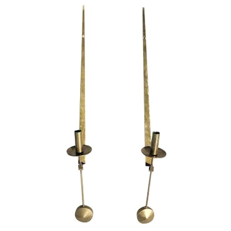 20th Century Pair of Swedish Brass Pendeln Candleholders by Pierre Forsell For Sale