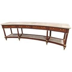 Monumental Curved Maison Jansen Louis XVI Reception Counter Console Table