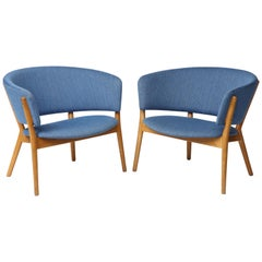 Nanna Ditzel ND83 Lounge Chairs Upholstered in Blue Fabric, Denmark, 1950s