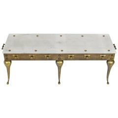 Brass and Steel Footman Coffee Table or Bench