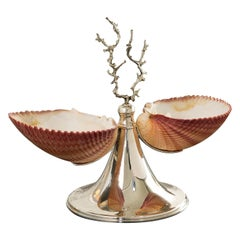 Silver Footed Double Bowl with Shells