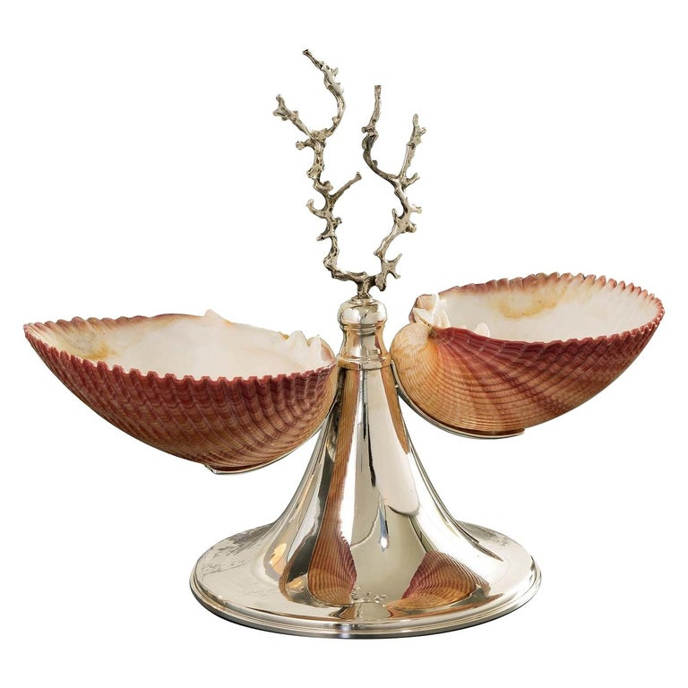 Silver Footed Double Bowl with Shells For Sale