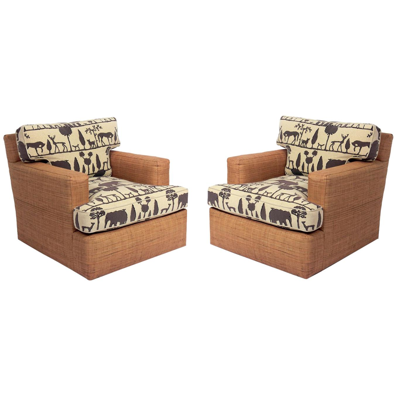 Jean Michel Frank Design Lounge Chairs with Giacometti Fabric