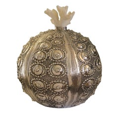 Silver Sea Urchin Box with Coral Lid