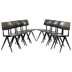 Multiple vintage Galvanitas Plywood Chairs S16 dark ebony, Netherlands