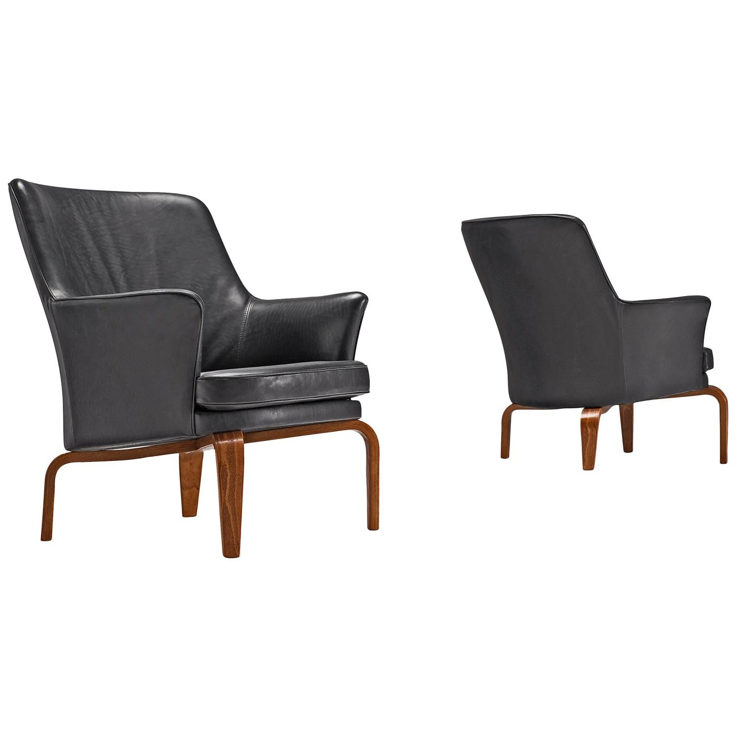 Arne Norell Pair of Reupholstered High Quality Leather 'Pilot' Armchairs