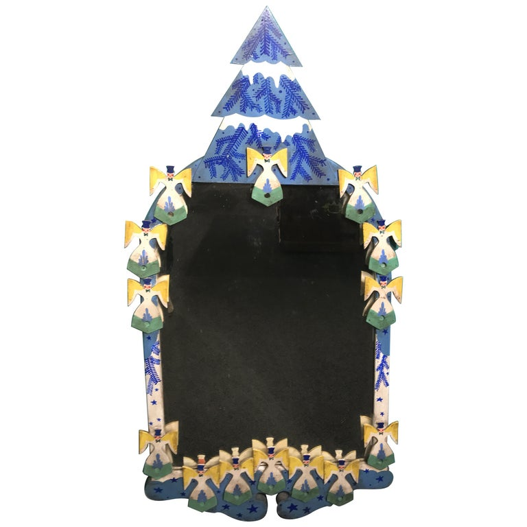 Peter Hunt Folk Art Painted Mirror with Snow Covered Tree and Angels For Sale