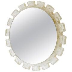 Round German Illuminated Lucite Mirror, 1970s