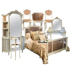 19th Century French Louis XVI Painted 7-Piece Bedroom Suite with Queen Bed