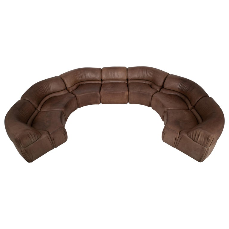 """De Sede Brown """"Cosmos"""" Sectional Sofa in Original Leather, Switzerland, 1970s For Sale"""