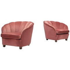Classic Italian Pair of Club Chairs in Pink Velvet