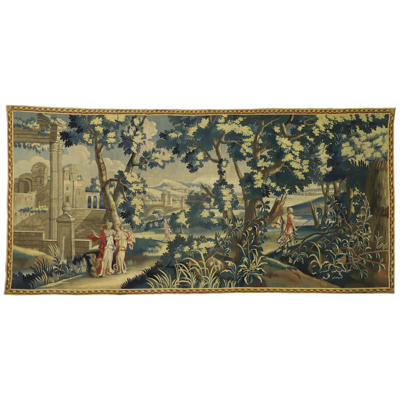 Louis XIV Style Antique French Aubusson Verdure Tapestry, Adonis, Venus, & Amour