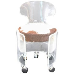 Charles Hollis Jones Lucite Vanity Chair, Glam in Real Hair Hide-HIll Mfg.Label