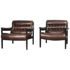 Elegant Swedish Leather Cabinet Armchair by DUX, 1970s, Set of 2