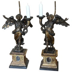 Pair of Italian Carved Wood and Gilt Angel Reliquary Pricket Candelabra as Lamps