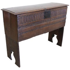Antique Belgian French Carved Dowry Chest