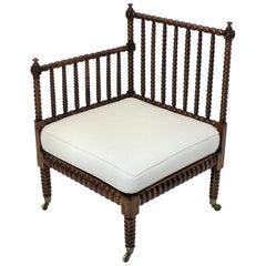Fine Bobbin Corner Chair in Elm