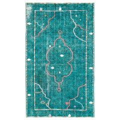Contemporary Handmade Turkish Folk Rug With A Distressed Appeal In Turquoise