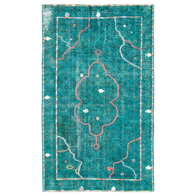 Contemporary Handmade Turkish Folk Rug With A Distressed Appeal In Turquoise  For Sale