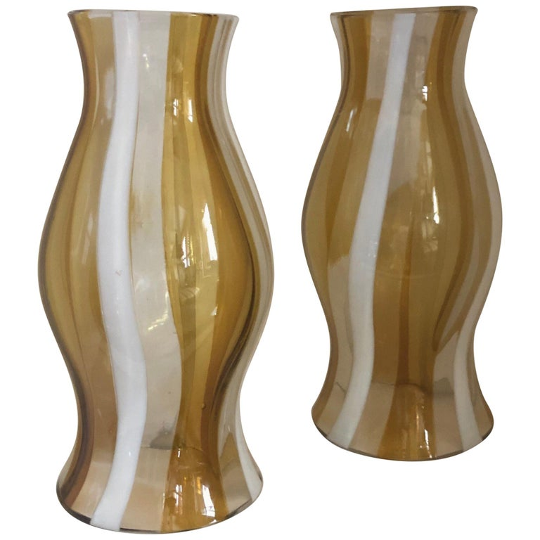 Pair of Vintage Murano Glass Photophores, Italian, 1960s For Sale