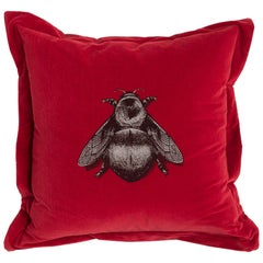 Crimson Napoleon Bee Cushion by Timorous Beasties