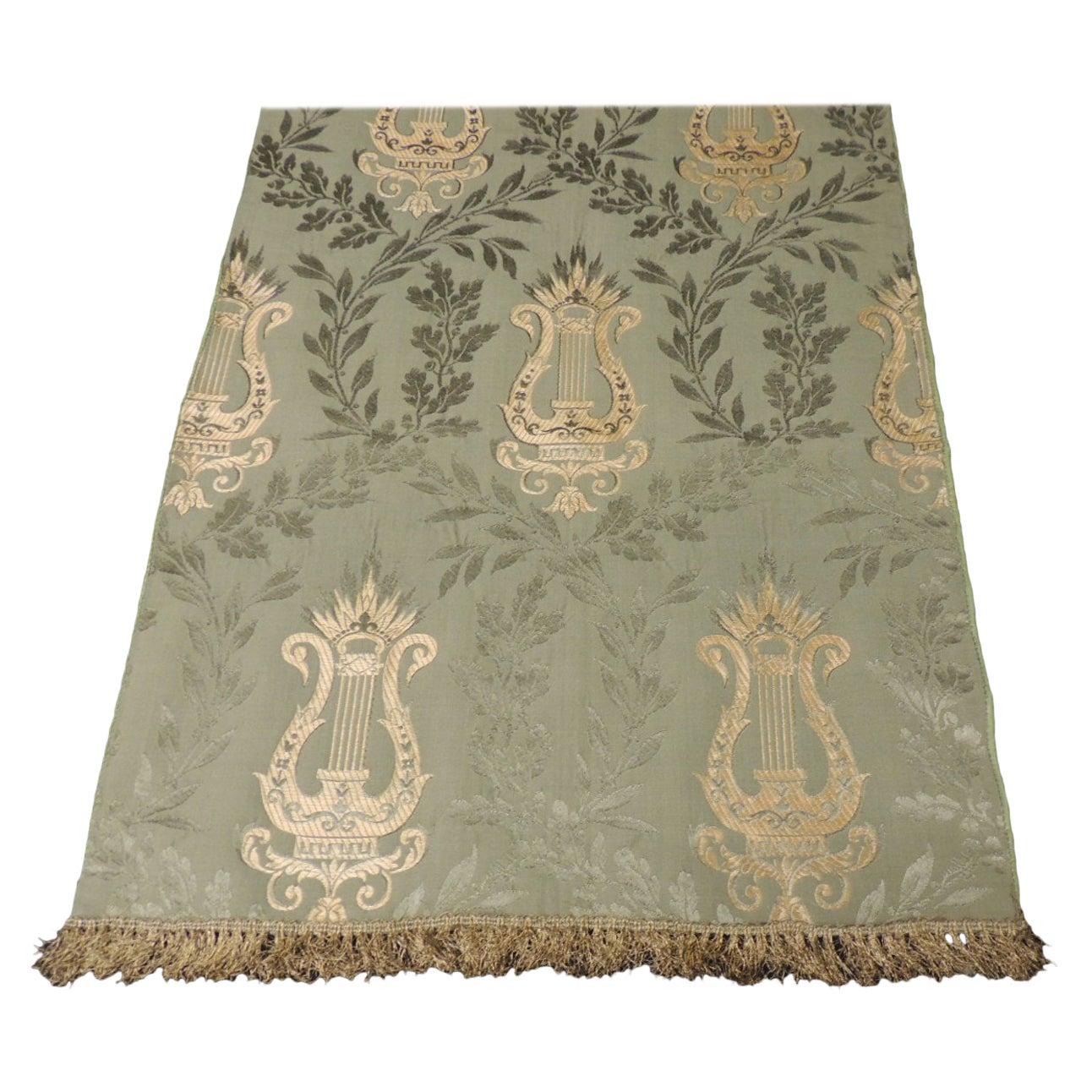 Antique Italian Green and Gold Silk Brocade Textile