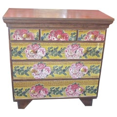 English XVIII Georgian Chest with 3 Large and 3 Small Drawers and Paper Cover