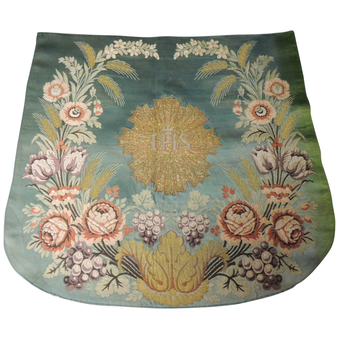 Antique Green and Gold Ecclesiastical Embroidery Brocade Altar Cloth or Banner