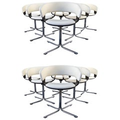 12 Allermuir Mollie Swivel Leather and Chrome Chairs