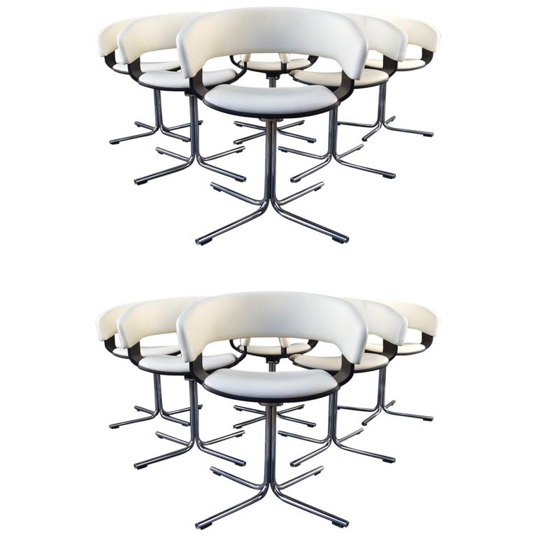 12 Allermuir Mollie Swivel Leather and Chrome Chairs For Sale