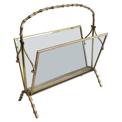 Maison Bagués, Bronze and Glass Faux-Bamboo Magazine Rack, French, circa 1940