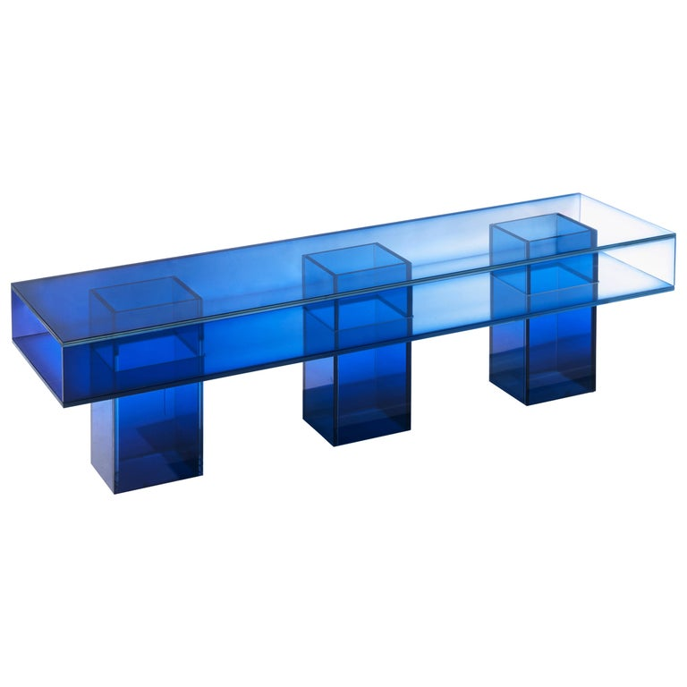 Blue Glass Clear Transition Color Square Long Bench by Studio Buzao Customizable For Sale